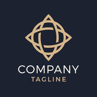 Globo estrela de luxo abstrato monoline, letra o, design de logotipo dourado