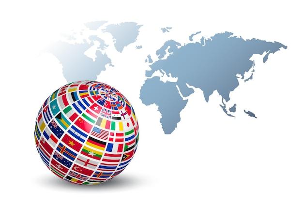 Globo feito de bandeiras em um fundo de mapa mundial.