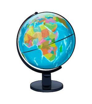 Globo geográfico escolar de tintas multicoloridas desenho colorido realista