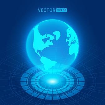 Globo holográfico com continentes contra o fundo abstrato azul escuro com círculos e fonte de luz
