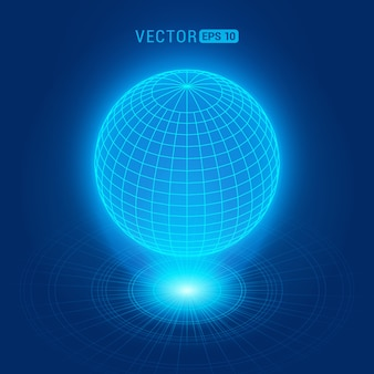 Globo holográfico contra o fundo abstrato azul com círculos e fonte de luz