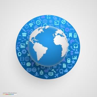 Globo mundial com ícones de aplicativos
