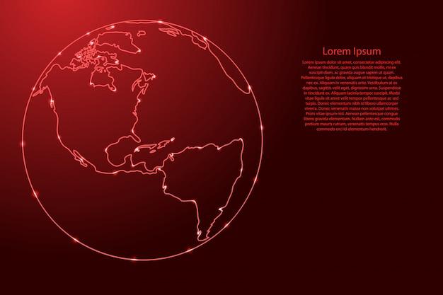 Globo planeta terra com os continentes do norte e do sul da américa latina a partir da rede de contornos vermelhos, estrelas do espaço luminoso.