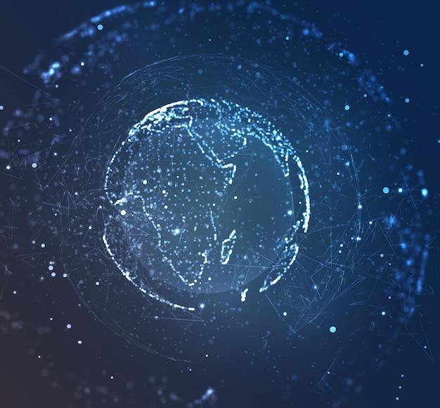 Globo, planeta terra, de pontos. conceito bigdata, processamento e coleta de dados