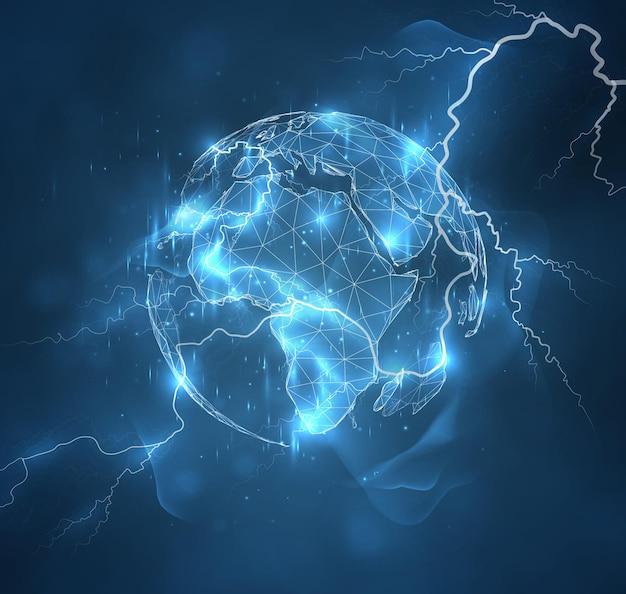 Globo, planeta terra, poder, elemento, força da natureza