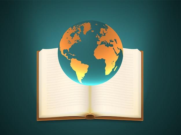 Globo terra com um livro aberto