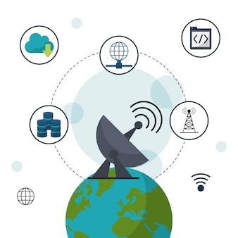 Globo terrestre com antena e ícones de comunicação de rede