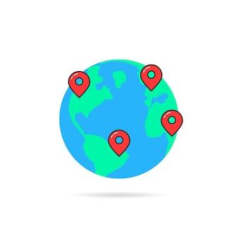 Globo terrestre com pinos de mapa. conceito de informação, etiqueta de viagem, guia, férias, viagem, turismo, oceano, geolocalização. estilo plano tendência logotipo moderno design gráfico ilustração vetorial no fundo branco