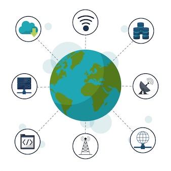 Globo terrestre e ícones conexões de rede e comunicações
