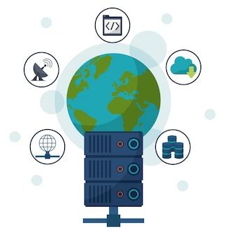 Globo terrestre e servidor de rede e ícones de comunicação ao redor