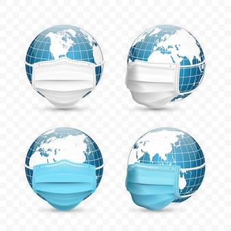 Globo terrestre em máscara médica. conjunto de mapas mundiais.