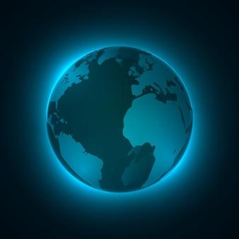 Globo terrestre iluminado em 3d