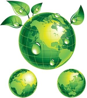 Globo verde com folhas verdes eps8 cmyk organizado por camadas cores globais gradientes usados