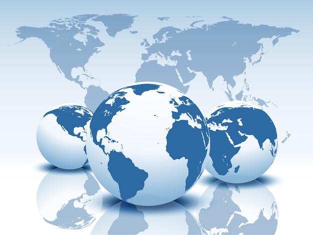 Globos de vetor e mapa do mundo.