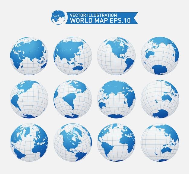 Globos mostrando a terra com todos os continentes