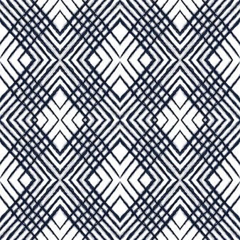 Gloss tie dye vector seamless pattern. crimson graphic tribal navajo texture. projeto desenhado tira de cobalto. ornamento do uzbeque da repetição listrada do oceano. impressão boêmia japonesa