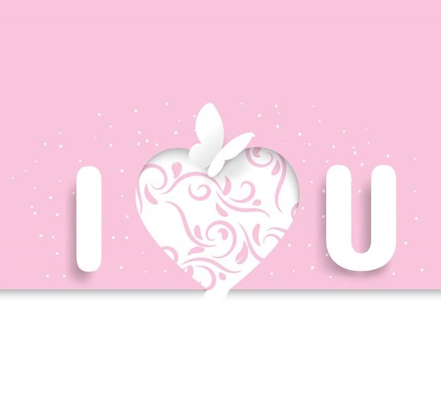 Glossário de eu te amo e borboletas que se parecem com papel cortado, com um rosa em forma de coração e hera, dia dos namorados, casamento
