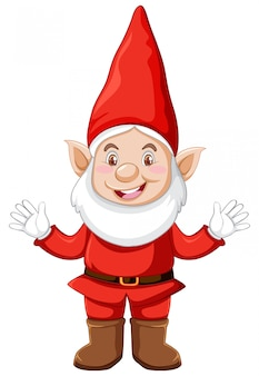 Gnom posição em pé com roupas de natal em personagem de desenho animado no fundo branco
