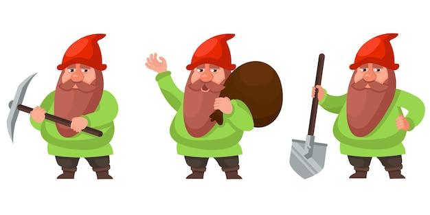 Gnome em diferentes poses. personagem de conto de fadas no estilo cartoon.