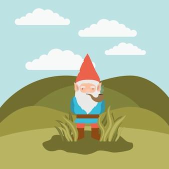 Gnome fantástico personagem saindo dos arbustos