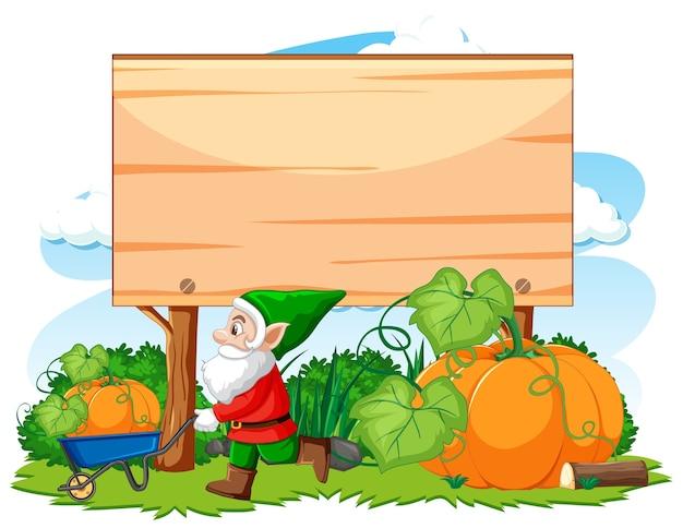 Gnome havest abóbora com banner em branco estilo cartoon sobre fundo branco