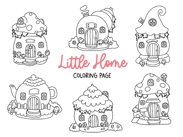 Gnome house doodle gnome house coloring page