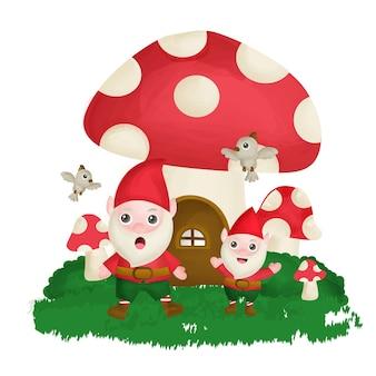 Gnomo bonito em frente a uma casa de cogumelos em estilo aquarela.