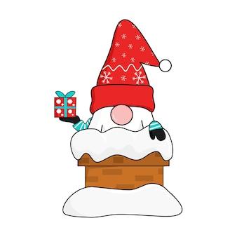 Gnomo bonito no chapéu de papai noel de flocos de neve vermelhos aparecer da chaminé de tijolos coberta de neve segurando a caixa de presente. saudar e comemorar o natal e o ano novo. ilustração vetorial.
