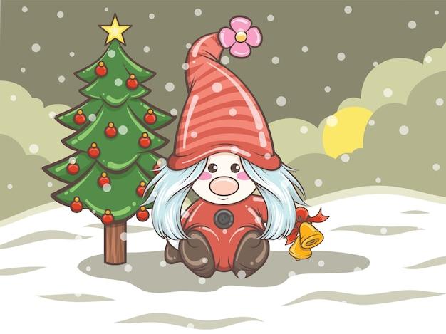 Gnomo bonito segurando sinos na ilustração de natal