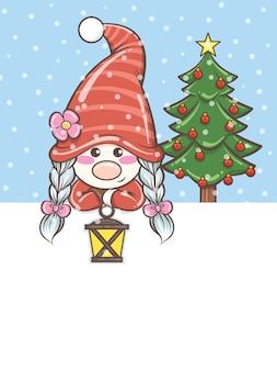 Gnomo bonito segurando uma lanterna solar na ilustração de natal