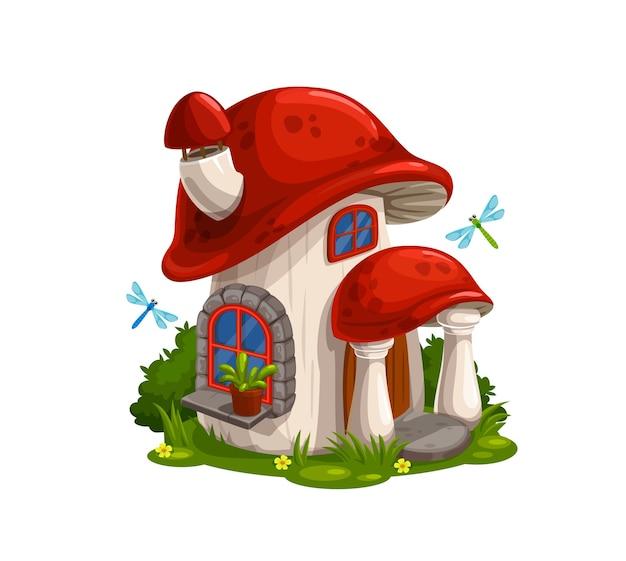 Gnomo, casa de conto de fadas do anão ou cabana em desenho animado de cogumelo.