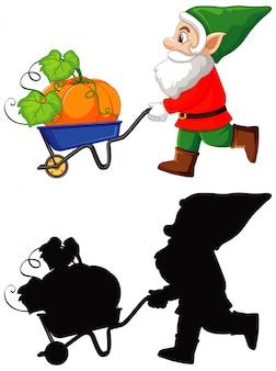 Gnomo com abóbora no carrinho na cor e silhueta em personagem de desenho animado no fundo branco