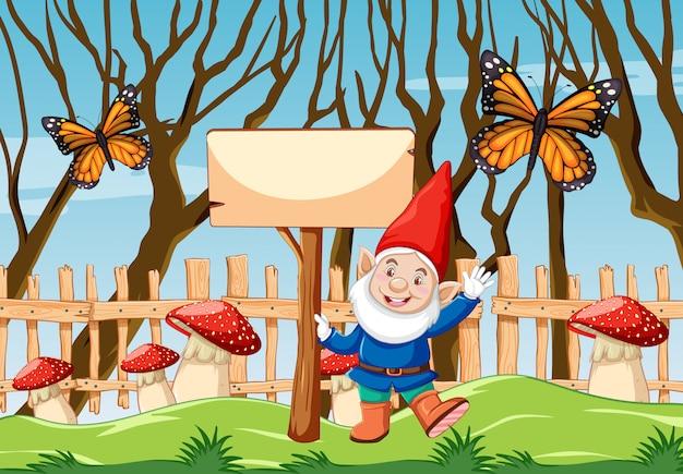Gnomo com banner em branco e borboleta na cena de estilo cartoon jardim