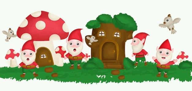 Gnomo com casa na árvore e casa de cogumelos no estilo de aquarela jardim.