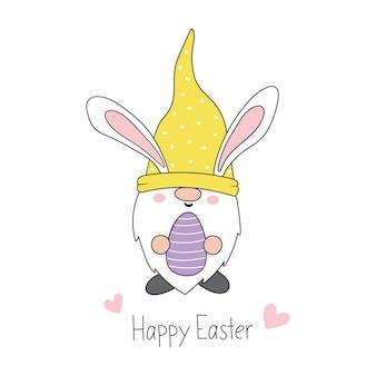 Gnomo da páscoa gnomo do coelhinho da páscoa com orelhas de coelho estilo desenho animado de páscoa feliz