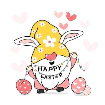 Gnomo de coelhinho da páscoa fofo e doce com orelhas de coelho, vetor de desenho animado de páscoa feliz