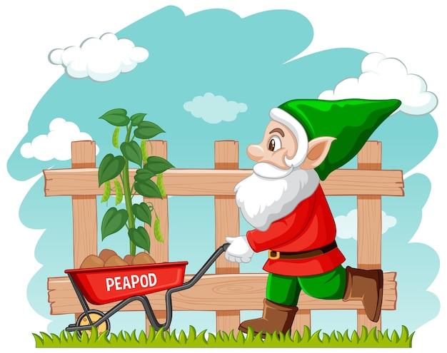 Gnomo de jardinagem com carrinho de mão
