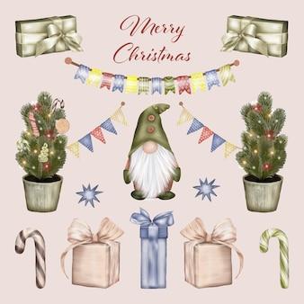 Gnomo de natal com caixas de presente e árvore