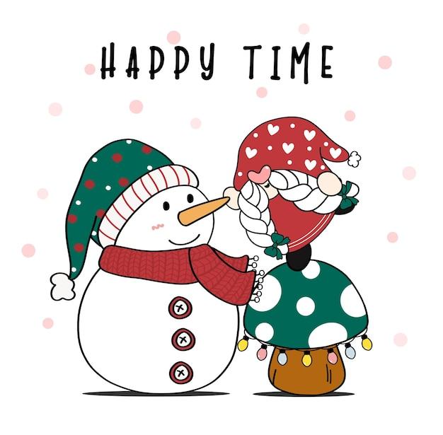Gnomo de natal fofo em cogumelo com boneco de neve do papai noel com neve caindo no plano de desenho animado de fundo
