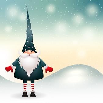 Gnomo de natal na decoração de inverno. vetor