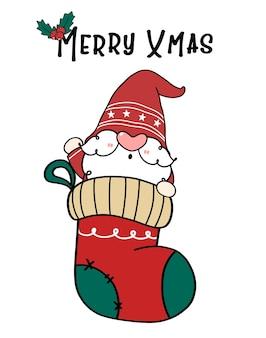 Gnomo de papai noel bonito na meia de natal, feliz natal. desenho animado doodle desenhado à mão.