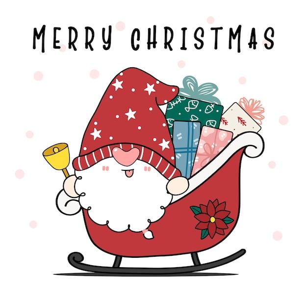 Gnomo do papai noel fofo com uma folha de caixas de presente em um trenó vermelho doodle desenhado de desenho animado de feliz natal