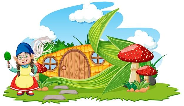 Gnomo e casa de milho com estilo de desenho animado de cogumelo no céu