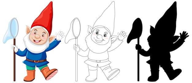 Gnomo em cor, contorno e silhueta em personagem de desenho animado em fundo branco