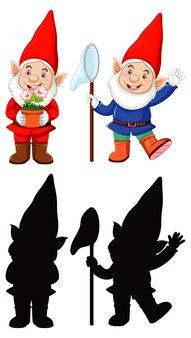Gnomo fantasiado de papai noel em cores, contornos e silhueta em personagem de desenho animado sobre fundo branco