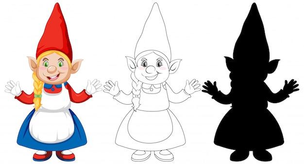 Gnomo na cor e contorno e silhueta em personagem de desenho animado no fundo branco