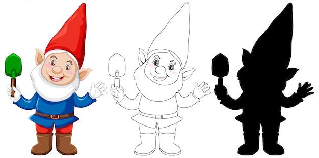 Gnomo segurando uma pá em cores, contornos e silhueta em personagem de desenho animado no fundo branco