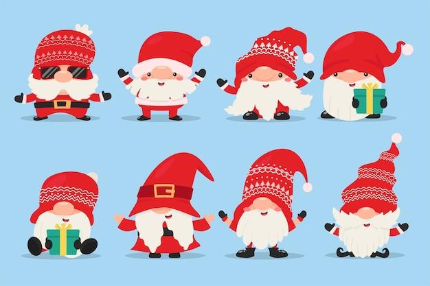 Gnomos anões usam vestidos e chapéus vermelhos para celebrar o natal no inverno.