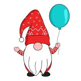 Gnomos bonitos no chapéu de papai noel de flocos de neve vermelhos segurando um balão azul flutuante na mão. comemorar o natal e o ano novo. ilustração vetorial.