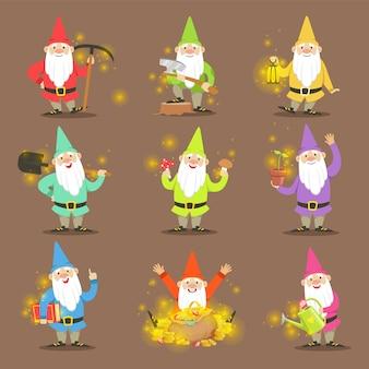 Gnomos de jardim clássicos em roupas coloridas conjunto de situações diferentes de personagens de desenhos animados